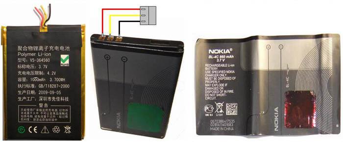 Замена батареи V5-364560 и H503456 1000 mAh HC T0076 на NOKIA