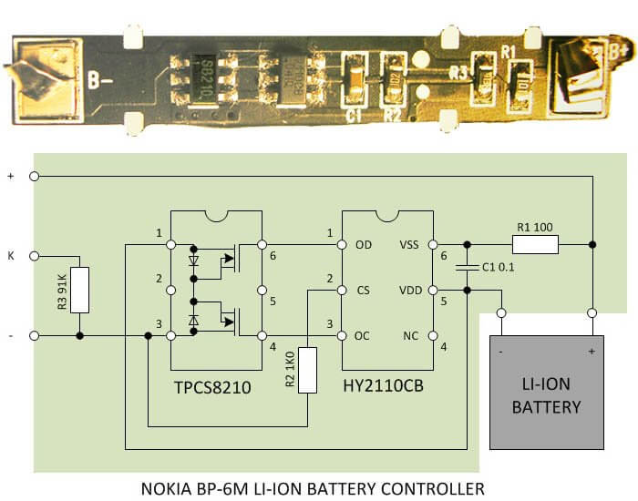 Here is the controller card charge extracted from the battery NOKIA BL-6Q and its circuitry.