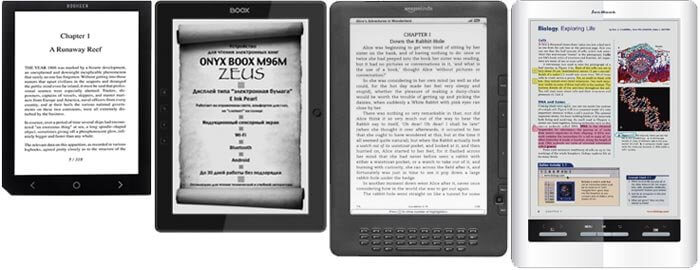 Большие электронные книги -  Bookeen Cybook Ocean, Onyx Boox M96M Zeus, Amazon Kindle DX, Ectaco Jetbook Color