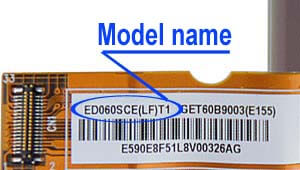 Marking area with the name of the model on the display ED060<wbr>SCE<wbr>(LF) H1