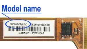 Marking area with the name of the model on the display ED060<wbr>SCF<wbr>(LF)