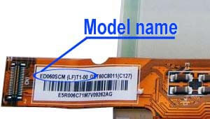 Marking area with the name of the model on the display ED060<wbr>SCM<wbr>(LF)