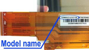 Marking area with the name of the model on the display ED060<wbr>KD1<wbr>(LF)