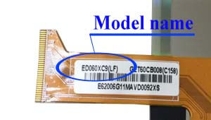 Marking area with the name of the model on the display ED<wbr>060<wbr>XC9<wbr>(LF)