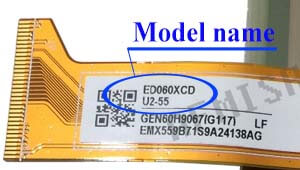 Marking area with the name of the model on the display ED060<wbr>XCD<wbr>(LF)