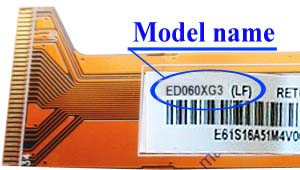 Marking area with the name of the model on the display ED060<wbr>XG3<wbr>(LF)