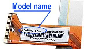 Marking area with the name of the model on the display ED060<wbr>XH2<wbr>(LF)