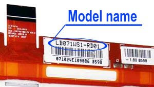 Marking area with the name of the model on the display LB071<wbr>WS1<wbr>-RD01